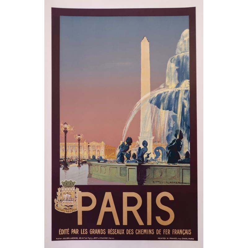 Affiche ancienne de Paris par Julien Lacase 1930