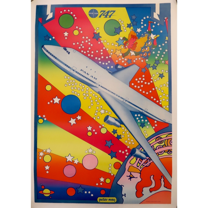 Affiche ancienne de voyage - Peter Max - Panam 747 - 1969
