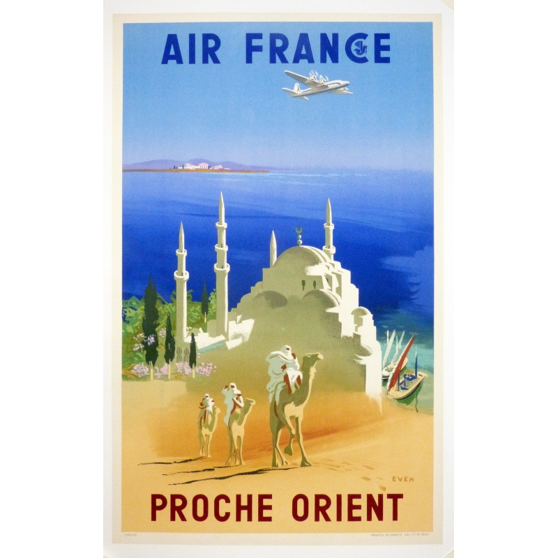 AIR FRANCE Middle East 1950 original franch poster 23.6 x 31.5 Inch.