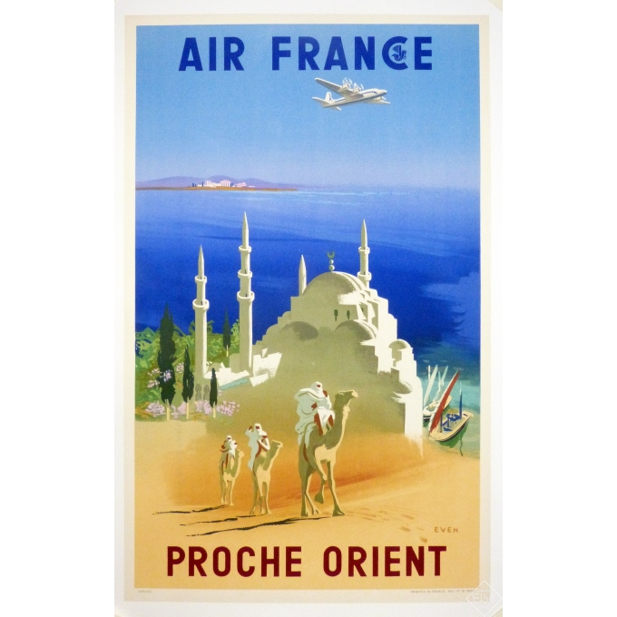 Affiche originale AIR FRANCE Proche Orient signée Even en 1950, Entoilée, en très bon état 60 x 80 cm