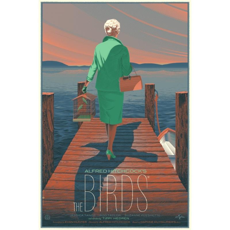 Affiche en sérigrapiie de Laurent Durieux du film culte THE BIRDS