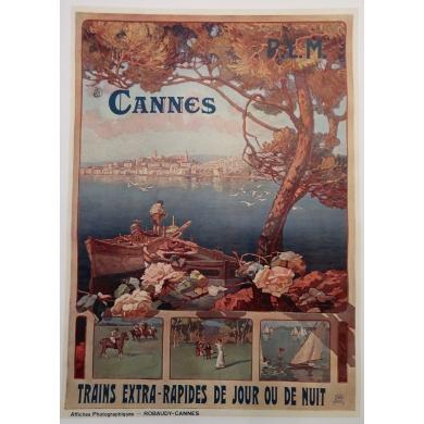 Affiche ancienne de tourisme PLM Cannes 1910