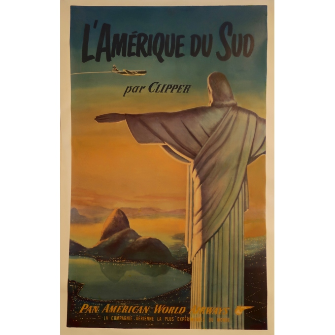 Affiche ancienne - Amérique du Sud Pan American World - Clipper - 1950