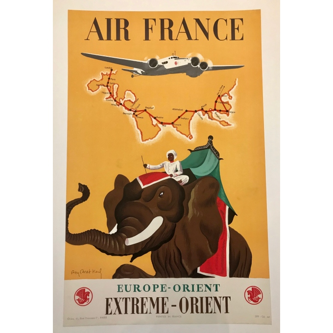 Affiche ancienne - Air France Extreme Orient - Ray Bret Koch - 1938