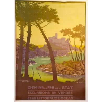 Affiche de L'Ile d'yeu - chemins de fer de l'Etat signée par Geo Dorival 1911