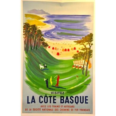 Visitez la cote Basque - Signed by Villemot