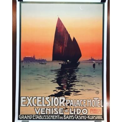 Affiche ancienne Excelsior Palace Hotel Originale 1920