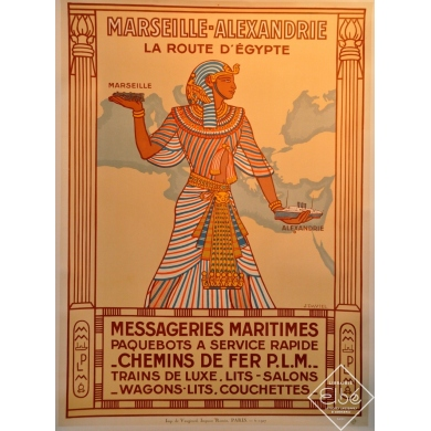Affiche Marseille Alexandrie la route d'Egypte messagerie maritime