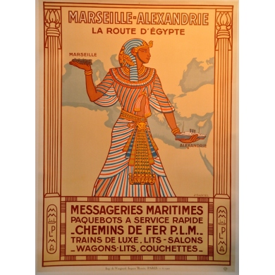 Marseilles Alexandria the route to Egypt original poster
