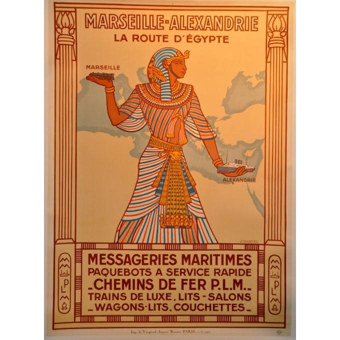 Marseilles Alexandria the route to Egypt original poster